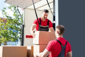 Professional removalists in Liverpool unloading in a van