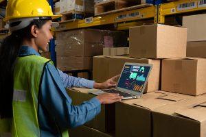 Worker using a myob greentree in a laptop